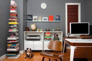 Superieur Home Office Improvements With Grey Wall And White IKEA Furniture And Eames  Chair