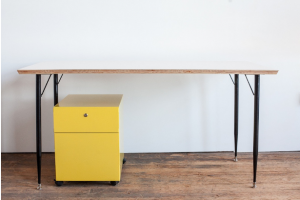 Bring Yellow Mobile File Cabinet Under Table